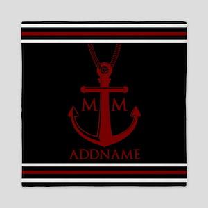 Nautical Anchor and Rope Monogram Queen Duvet