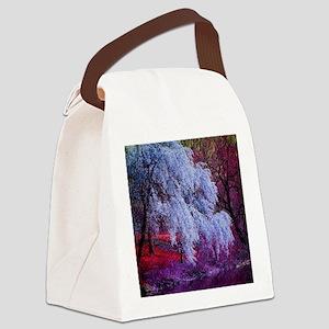 landscape purple cherry blossom Canvas Lunch Bag