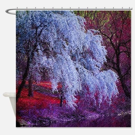 landscape purple cherry blossom Shower Curtain
