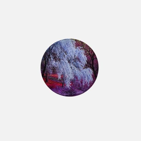 landscape purple cherry blossom Mini Button