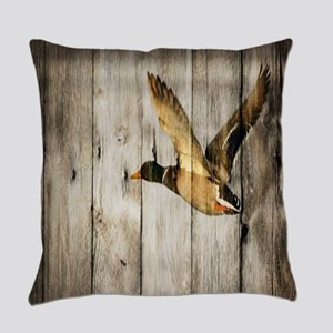rustic western wood duck Everyday Pillow