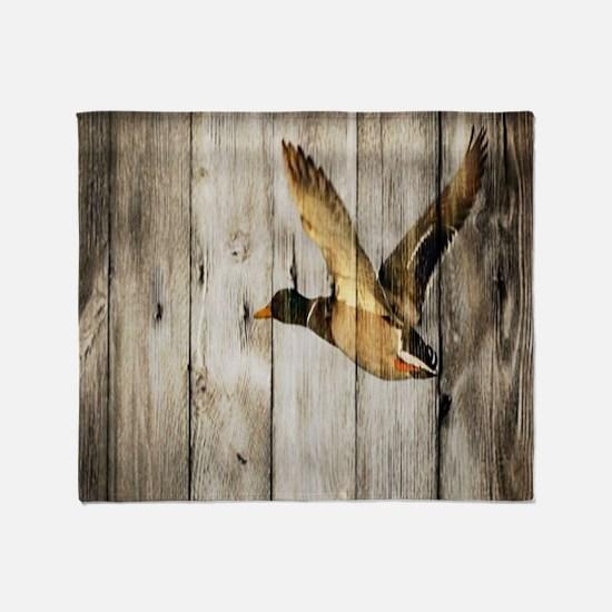 rustic western wood duck Throw Blanket