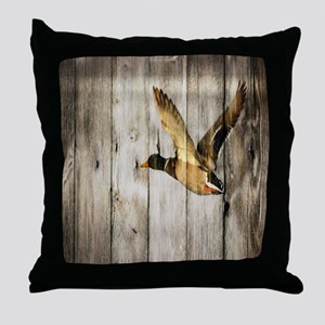 rustic western wood duck Throw Pillow