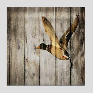 rustic western wood duck Tile Coaster