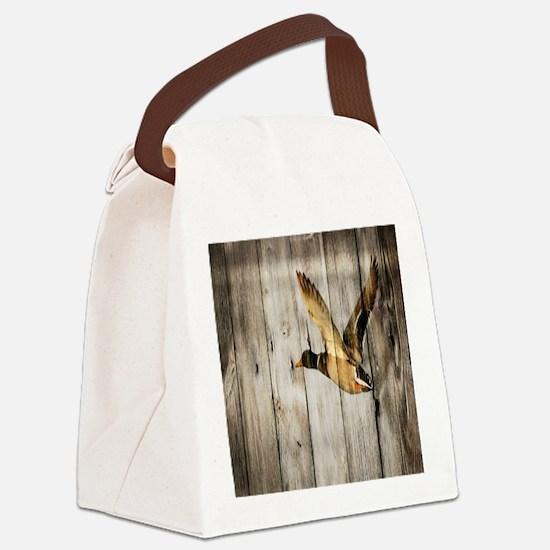 rustic western wood duck Canvas Lunch Bag