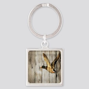 rustic western wood duck Square Keychain