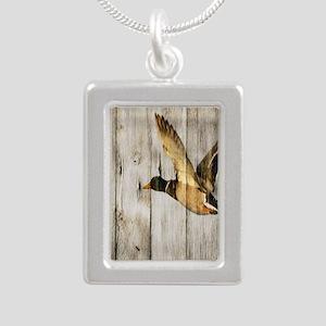 rustic western wood duck Silver Portrait Necklace