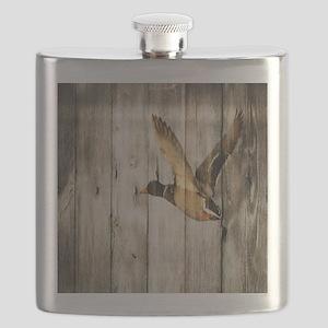 rustic western wood duck Flask