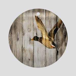 rustic western wood duck Round Ornament