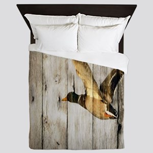 rustic western wood duck Queen Duvet