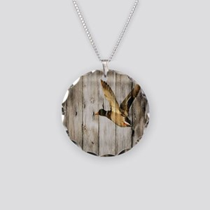 rustic western wood duck Necklace Circle Charm