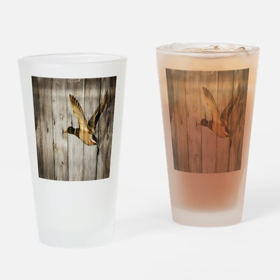 rustic western wood duck Drinking Glass
