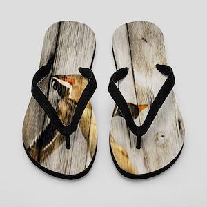 rustic western wood duck Flip Flops