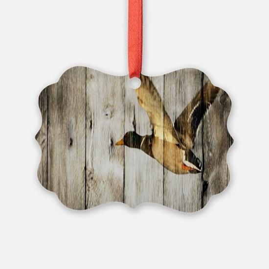 rustic western wood duck Ornament