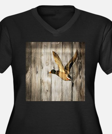 rustic western wood duck Plus Size T-Shirt