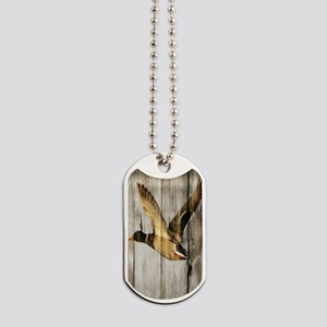 rustic western wood duck Dog Tags