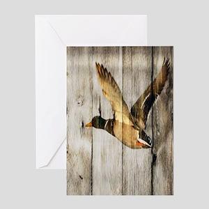 rustic western wood duck Greeting Cards