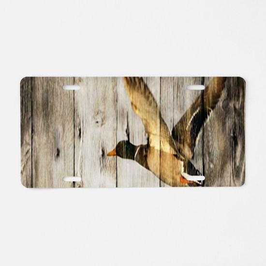 rustic western wood duck Aluminum License Plate