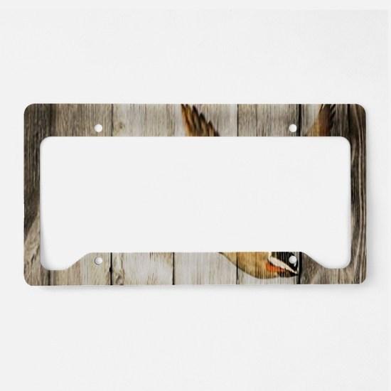 rustic western wood duck License Plate Holder