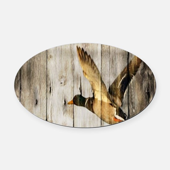 rustic western wood duck Oval Car Magnet