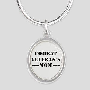 Combat Veteran's Mom Silver Oval Necklace