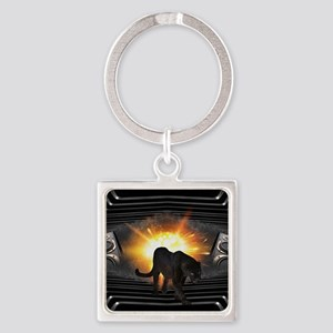 electric keyboard black panther Square Keychain