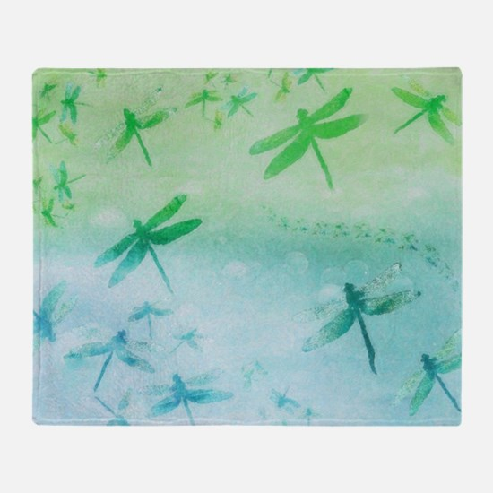 Vibrant Aqua Dragonflies Throw Blanket