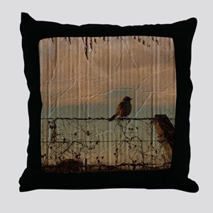 farm fence landscape bird  Throw Pillow