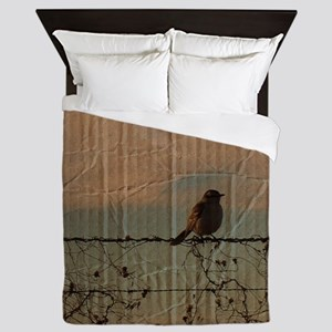 farm fence landscape bird  Queen Duvet