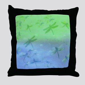 Deep blue dragonfly watercolor Throw Pillow