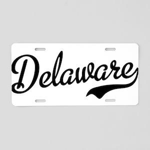 Delaware Script Black Aluminum License Plate