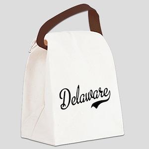Delaware Script Black Canvas Lunch Bag
