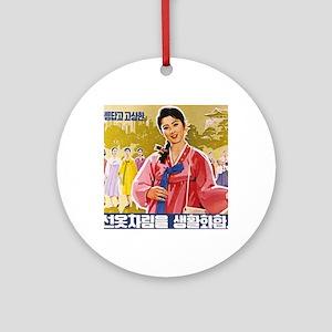Korean Ladies Wearing Hanbok Ornament (Round)
