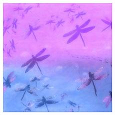Bold Purple Dragonflies Poster