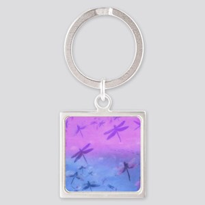 Bold Purple Dragonflies Square Keychain