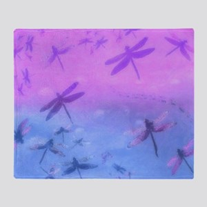 Bold Purple Dragonflies Throw Blanket