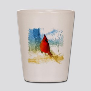 watercolor winter red cardinal Shot Glass