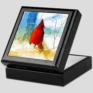 watercolor winter red cardinal Keepsake Box