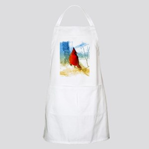 watercolor winter red cardinal Apron