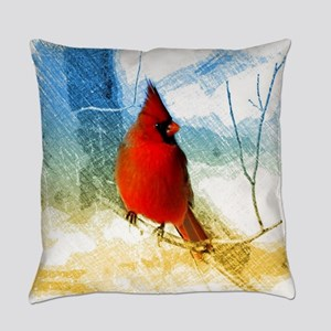 watercolor winter red cardinal Everyday Pillow
