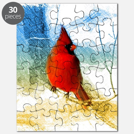 watercolor winter red cardinal Puzzle