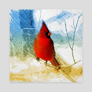 watercolor winter red cardinal Queen Duvet