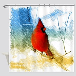 watercolor winter red cardinal Shower Curtain