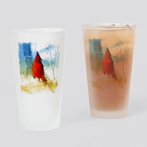 watercolor winter red cardinal Drinking Glass