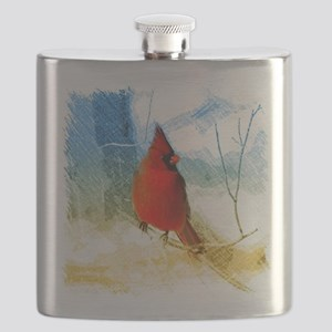 watercolor winter red cardinal Flask