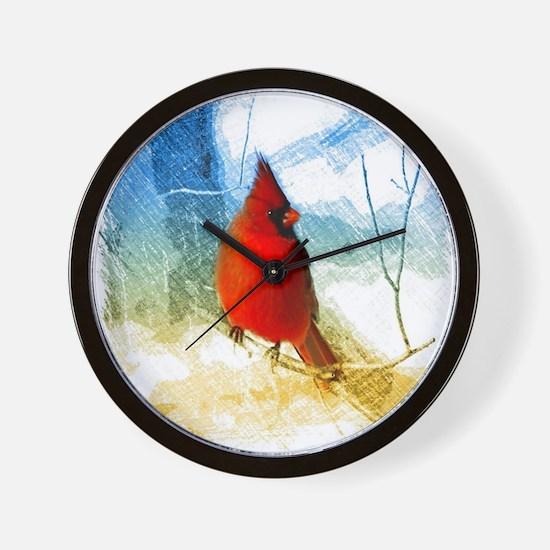 watercolor winter red cardinal Wall Clock