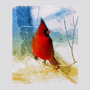 watercolor winter red cardinal Throw Blanket