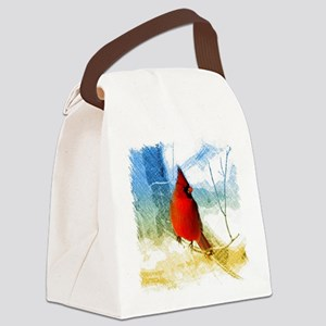 watercolor winter red cardinal Canvas Lunch Bag