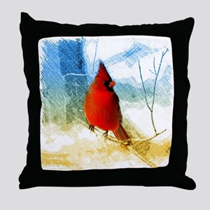 watercolor winter red cardinal Throw Pillow