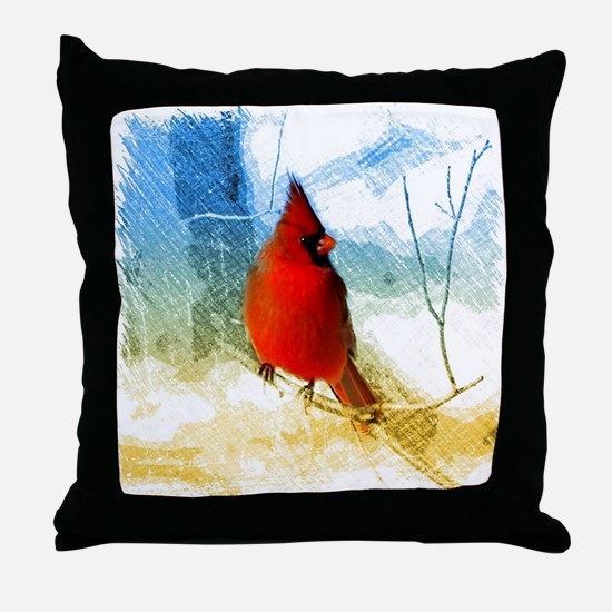 watercolor winter red cardinal Throw Pillow